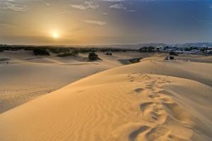Sanddyner i Maspalomas på öns södra del.