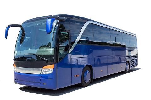 En blå buss